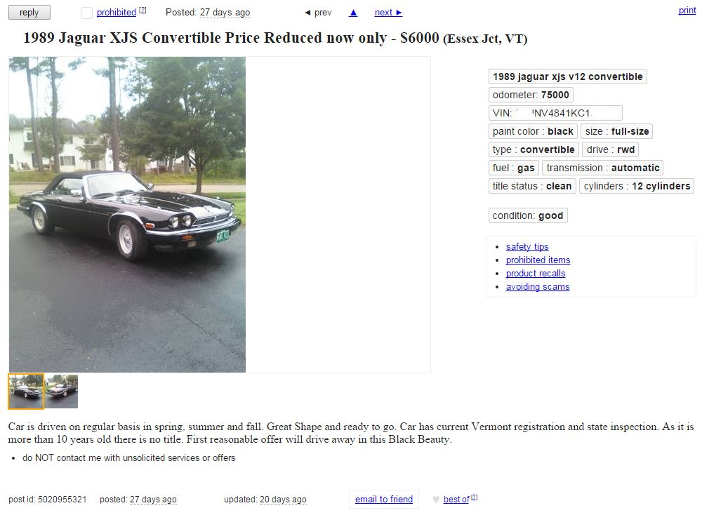 XJS: When I Was On Craigslist In Vermont. | The Jaguar Diaries